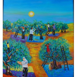 Olive harvesting by Taleb Dweik, iRiwaq Virtual Art Gallery