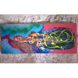 Funky painting by Riham Isaac, iRiwaq Virtual Art Gallery