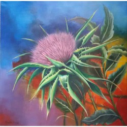 Thistle flower by Khaled Hosen, iRiwaq Virtual Art Gallery